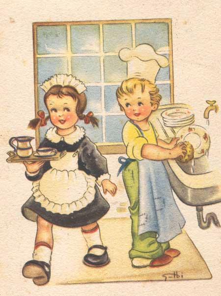 Bambini - lavori domestici - Disegno