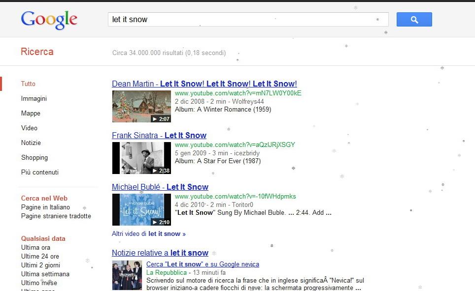 Nevica in google